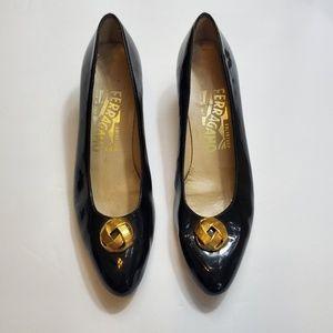 Salvatore Ferragamo Black Patent Heels Size 5.5AA